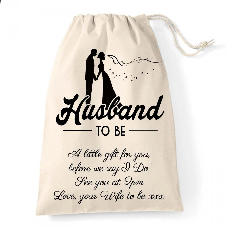 Boda - Personalised wedding gift bag for the Husband to be, a little gift before the big day great for the wedding morning