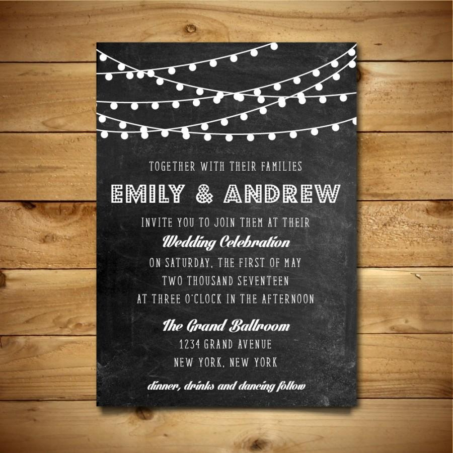 printable chalk wedding invitation template dark grey white printable chalk wedding invitation template dark grey white instant editable ms word doc string lights collection