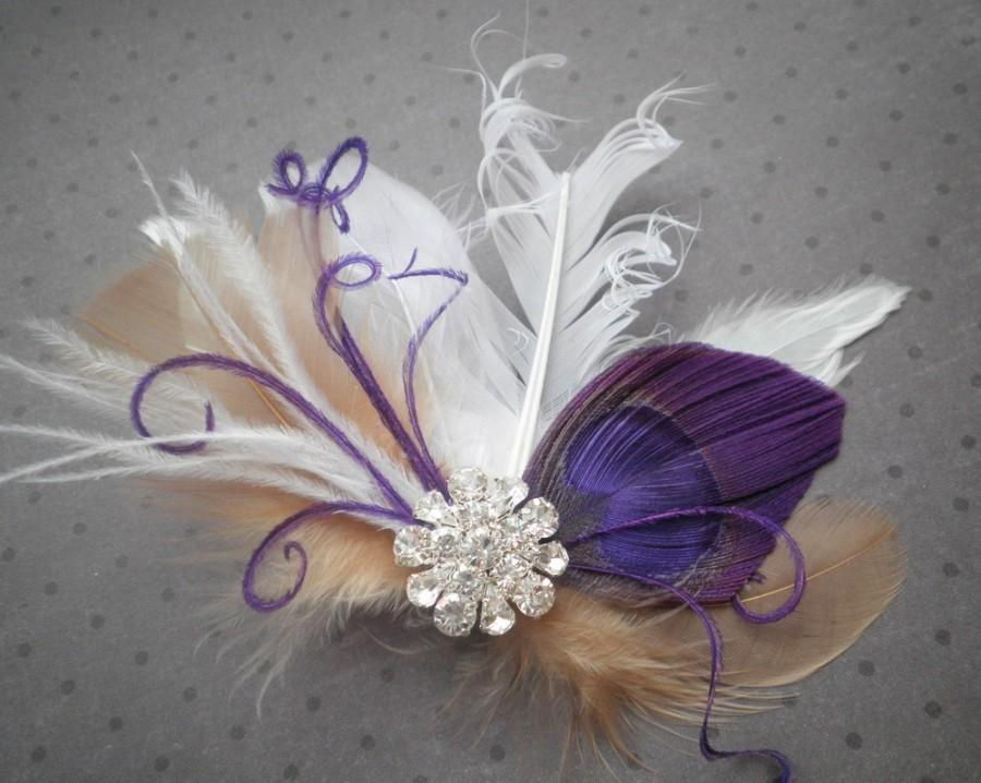 Mariage - Weddings, Feather, hair, Fascinator, Purple, Bridal, Accessory, accessories, Peacock, white, beige, tan, ivory - PURPLE FANTASIES