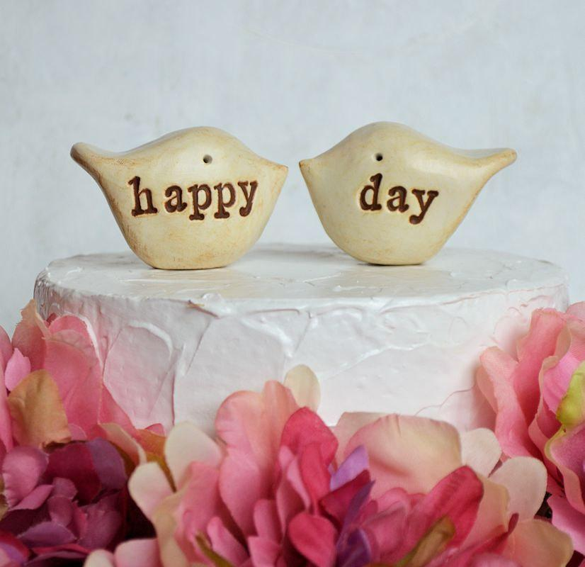 زفاف - Wedding cake topper...Love birds... happy day