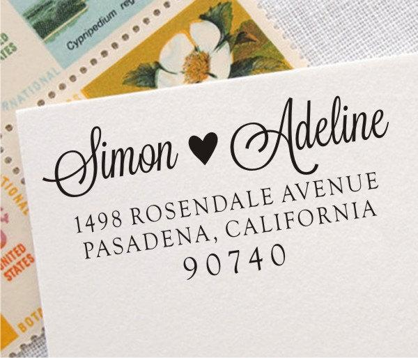 Wedding - Return Address Stamp - Self Inking Address Stamp, Personalized Wedding Custom Address Rubber Stamp (008)