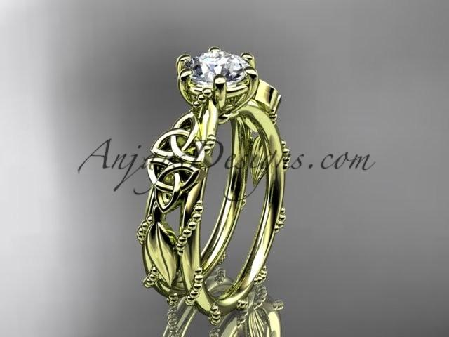 Свадьба - 14kt yellow gold celtic trinity knot engagement ring , wedding ring CT766