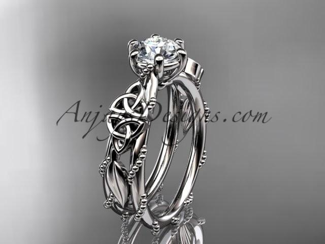 Hochzeit - 14kt white gold celtic trinity knot engagement ring , wedding ring CT766