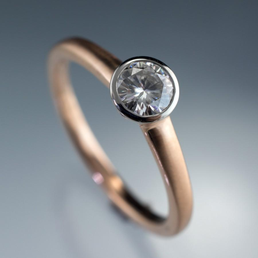 Moissanite Palladium Bezel Solitaire Engagement Ring With Rose Gold Band Modern Mixed Metal Forever Brilliant One