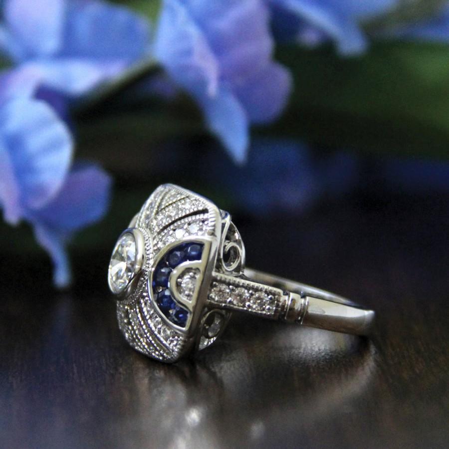 Свадьба - 0.80 ct.cw Art Deco ENgagement Ring-Brilliant Cut Diamond Simulants-Blue Sapphire-Anniversary Ring-Promise Ring-925 Sterling Silver-R89719