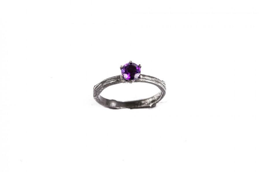 Mariage - Amethyst sterling silver twig engagement ring, twig ring, nature ring