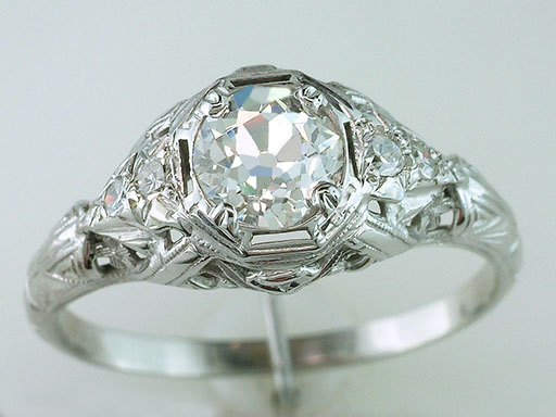 Свадьба - Vintage Antique Certified 1ct Diamond 18K White Gold Art Deco Engagement Ring