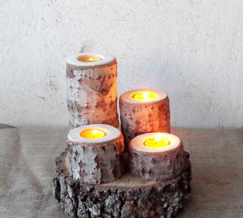 Mariage - 4 Wood Candle Holders - Wood Log Holders - White Tree Candle Holders - Wedding Decoration - Home Decoration