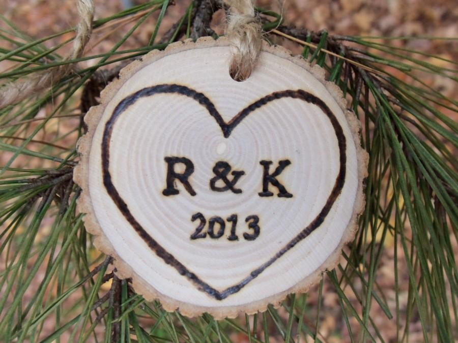 Mariage - Quick to Ship - Natural Ash Tree Branch Ornament - With Initials and Year