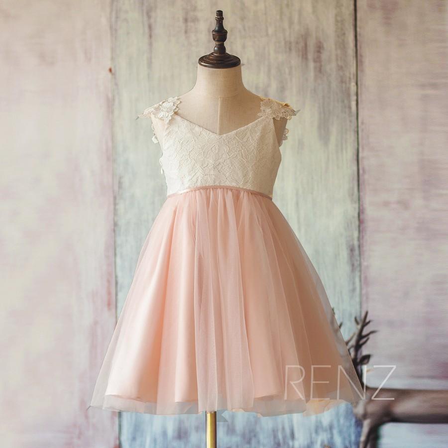 2015 Pink Junior Bridesmaid Dress White And Blush Flower Girl Dress