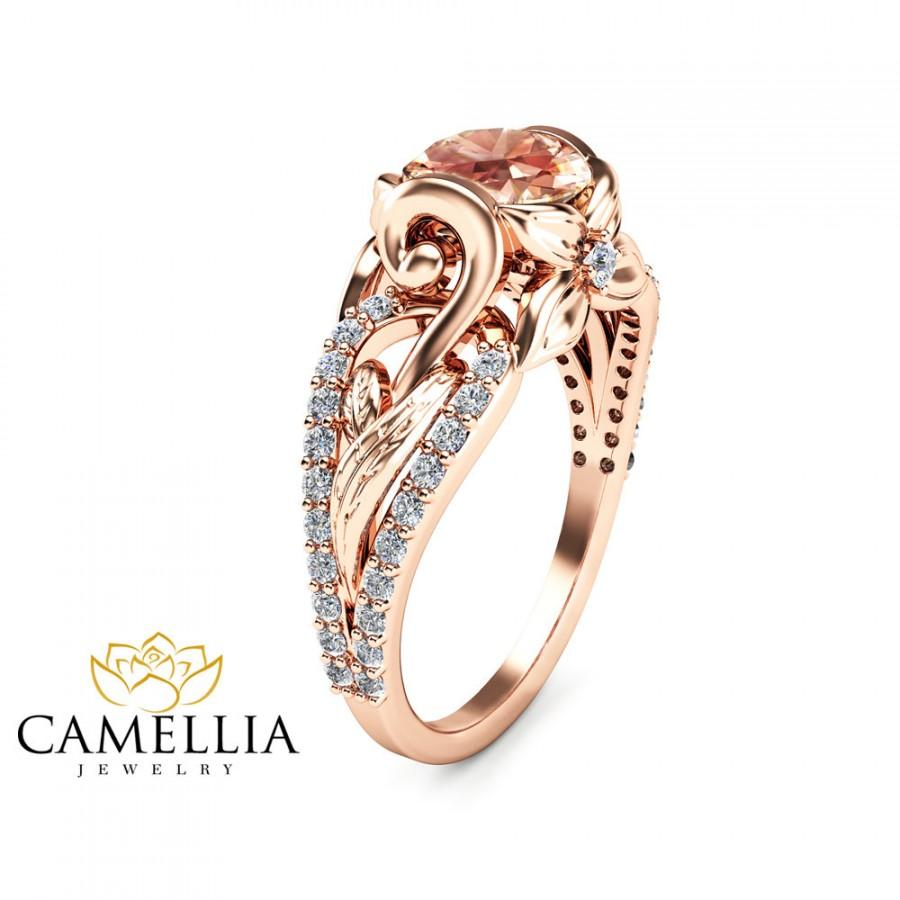 14K Rose Gold Morganite Engagement Ring Unique Peach Pink Morganite Ring Leaf