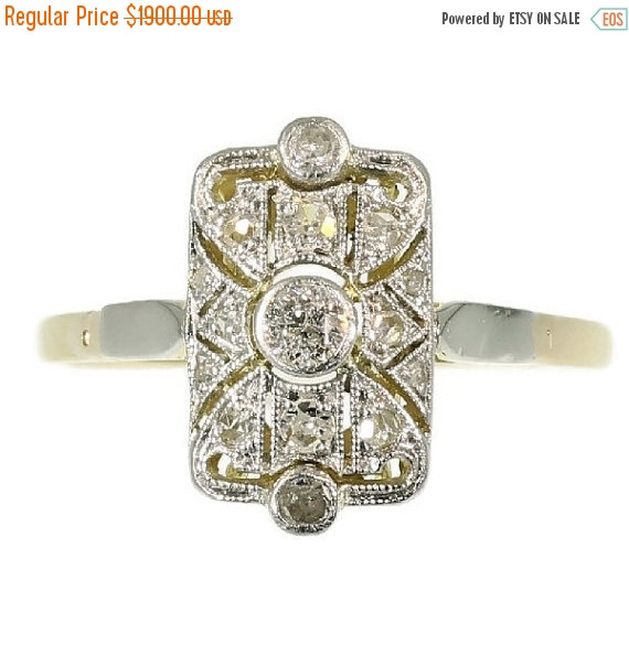 Свадьба - On Sale 1920s Diamond Engagement Ring - Gold yellow old European cut diamond geometric rectangular ring Art Deco jewelry