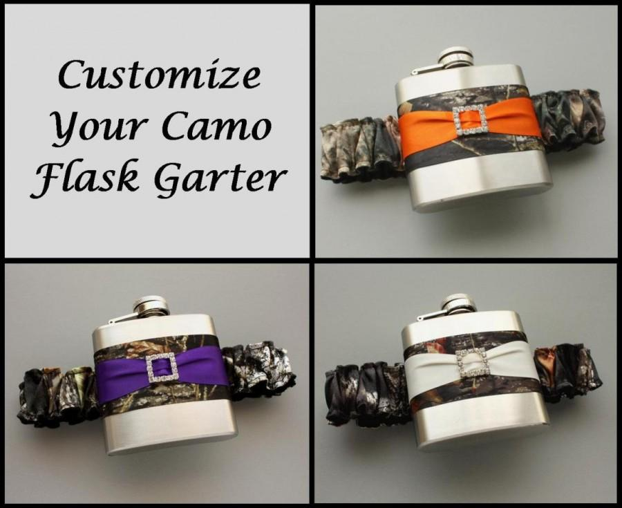 Wedding - Camouflage FLASK GARTER -- Choose Your Own Accent Color -- Camo Garter with Flask for Bride or Bridesmaids