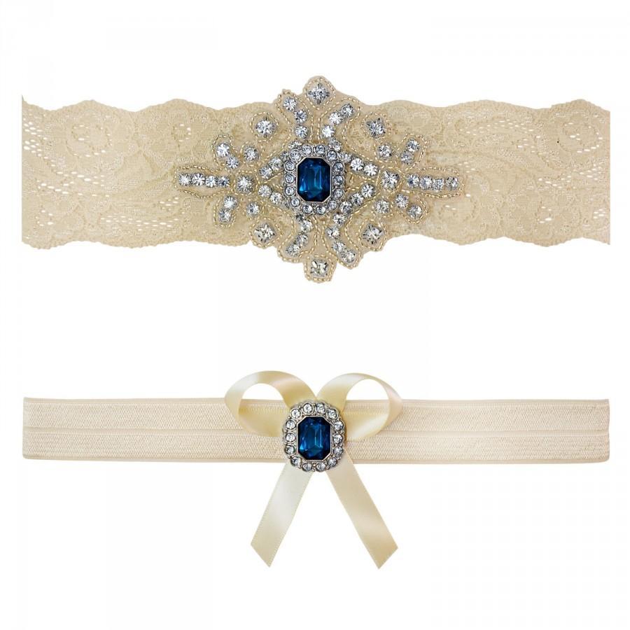 Свадьба - Sapphire Blue Ivory White Lace Bridal Garter Belt Wedding Set Keepsake Toss Shower Gift Rustic Beach Spring