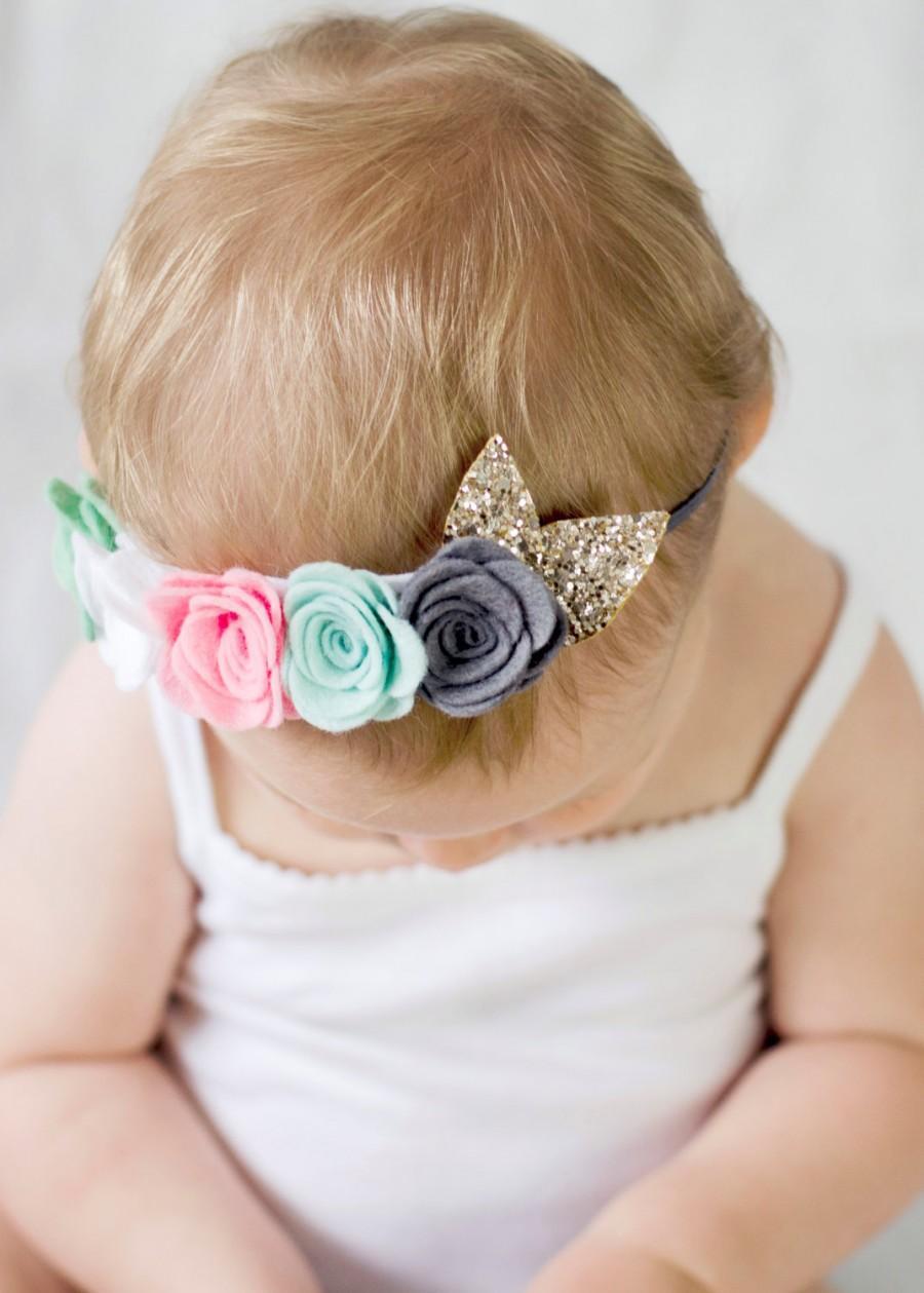 Wedding - Felt flower headband crown - pink rose white floral head piece - flower girl hair accessory - felt flowers - newborn baby photography props