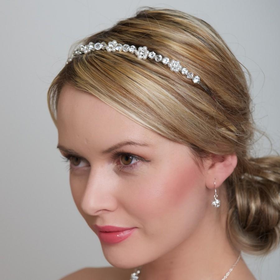 Wedding accessories pearls flowers pearls - Wedding Headband Bridal Hair Accessory Pearl Flower Headband Swarovski Pearls And Clear Rhinestones Bridesmaids Headband Wedding