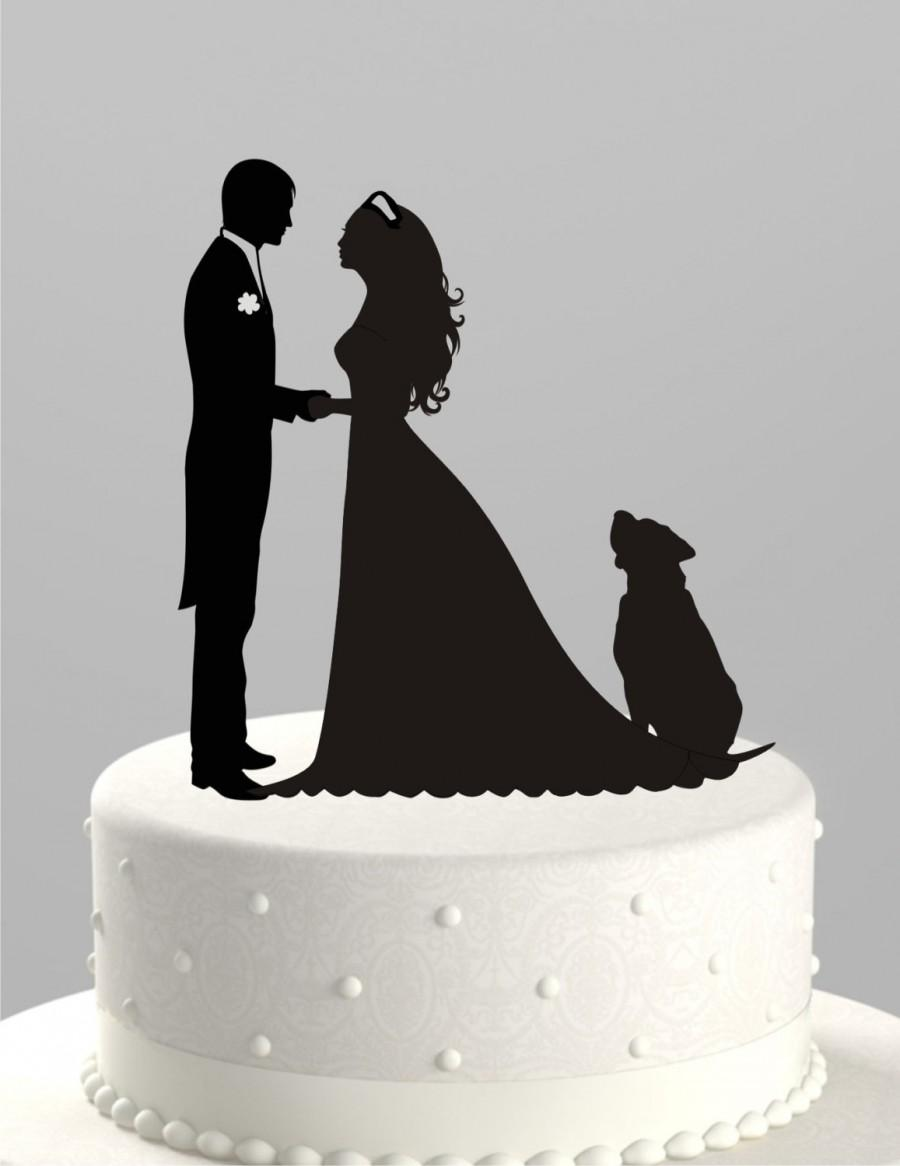 زفاف - Wedding Cake Topper Silhouette Groom and Bride with Dog, Acrylic Cake Topper [CT38pd]