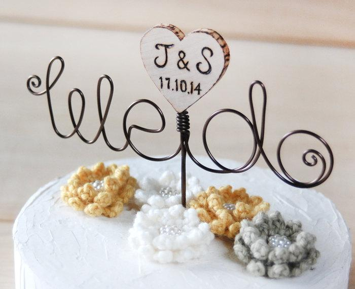Mariage - Customize Wire and wooden heart Cake Topper, wire cake topper - we do
