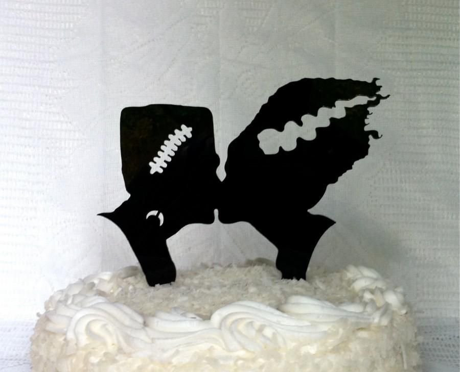 Mariage - Frankenstein and Bride Silhouette Wedding Cake Topper Monster Halloween Cake Topper Monster Cake Topper Frankenstein Wedding Cake Topper