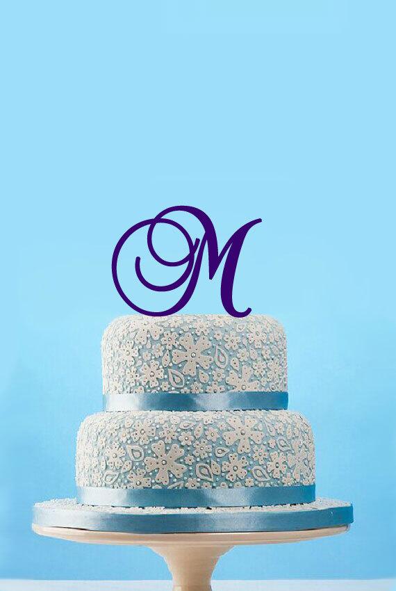 Mariage - Custom wedding cake topper,monogram Initials Cake Topper,personalized Letter Cake Topper,elegant Wedding Cake Topper,birthday deocr-4807