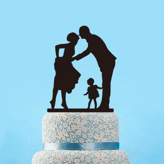 Mariage - Silhouette cake topper,wedding cake topper with kid,unique cake topper,acrylic wedding topper,rustic cake topper,bride and groom cake topper