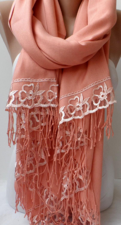 Salmon Pashmina Shawls French Lace Bridesmaid Gifts High Quality Women Accessories Wedding Shawl Bridal C Scarfs