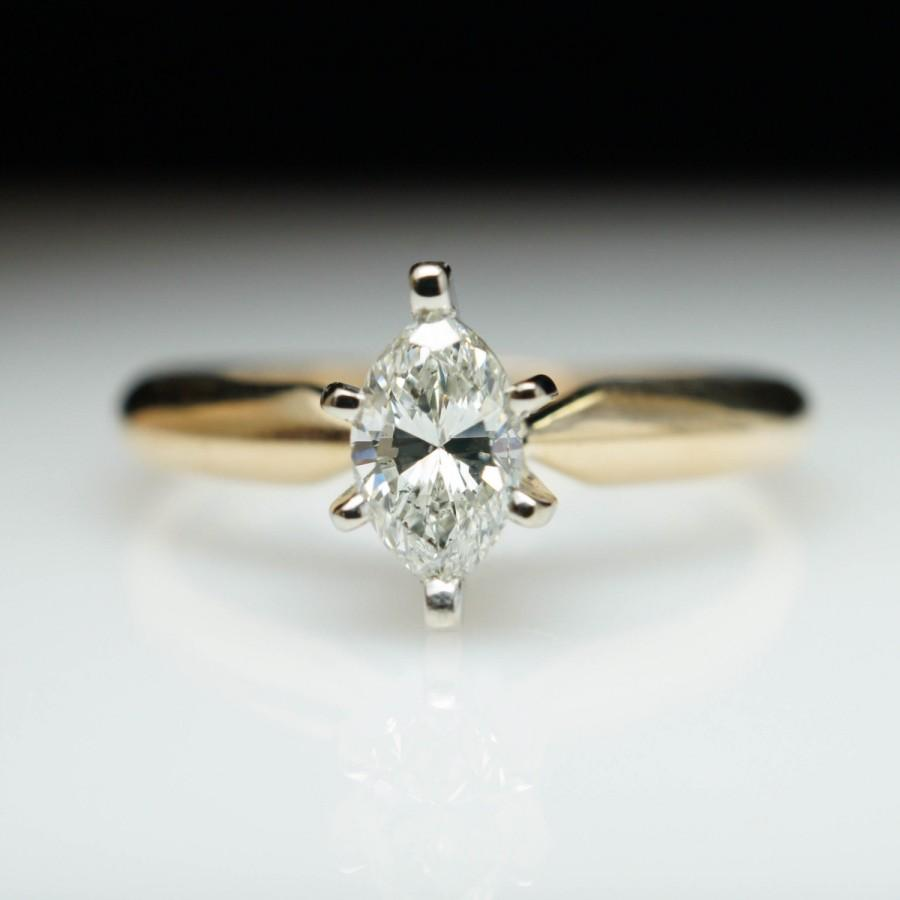 vintage solitaire .34ct marquise cut diamond engagement ring 14k