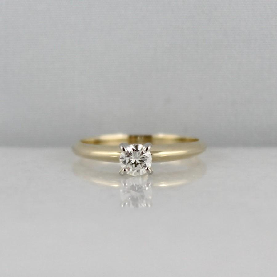 Diamond Engagement Ring 0 25 Carat SI1 Clarity G H Color 14K Yellow Gol