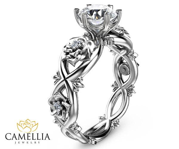 Unique Engagement Ring 14k White Gold Diamond Engagement Ring Flower