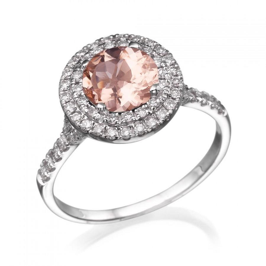 Hochzeit - Morganite Ring, 14K White Gold Engagement Ring, Halo Engagement Ring, 1.1 TCW Morganite Ring, Art Deco Ring, Unique Rings