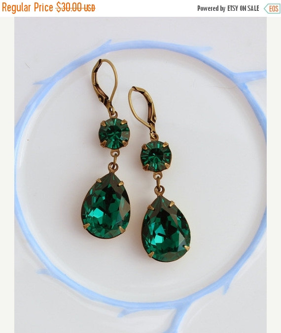 Black Friday Emerald Earrings Swarovski Earring Double Green Chris