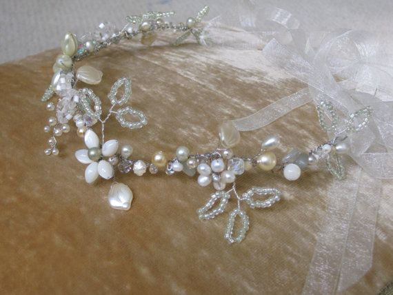Hochzeit - Beaded Flower Hair Vine Bridal Headpiece Wedding Head Piece