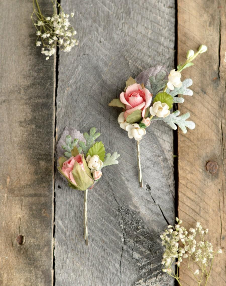 Vintage Flower Hair Clips Wedding Rose Hair Pins Pastel Floral Bobby Pins Woodland Bobby Pins