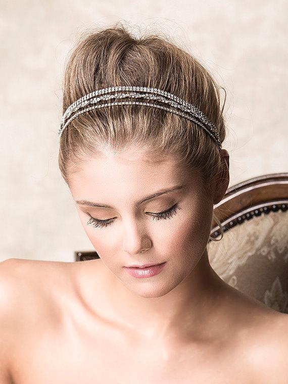 Hochzeit - Wedding Crystal Headband, Bridal Rhinestone Headband, SWAROVSKI Wedding Hair Accessories, Vintage Style Art Deco Grecian Head Wrap (SIEVA)
