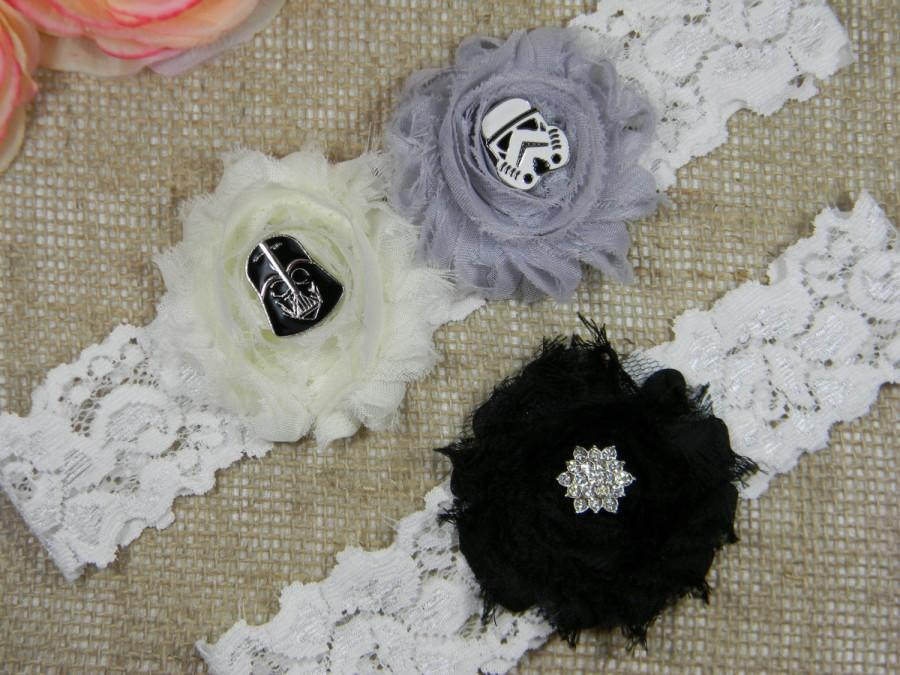 Star Wars Wedding Garter Darth Vader Stormtrooper Bridal And Toss Set Silver Gray Ivory Black Flower Geek Garters