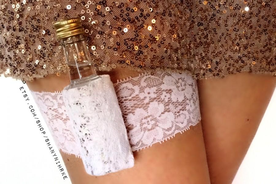 Wedding - Flask Garter Lace Shot Garter: Bachelorette, Bride, Birthday Stretch Lace Garter