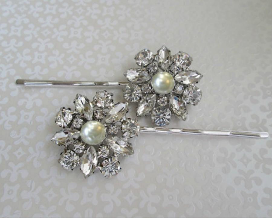 زفاف - Ivory Pearl Hair Pin Wedding Hair Accessories Bridal Bobby Pins Crystal Hair Flowers rhinestone brooch clip