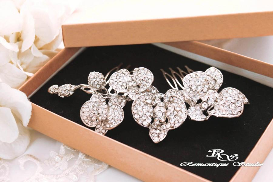 Mariage - Orchid bridal hair comb Crystal wedding hair comb Rhinestone hairpiece Wedding hair accessory Bridesmaid haircomb Bridal hair clip  5176