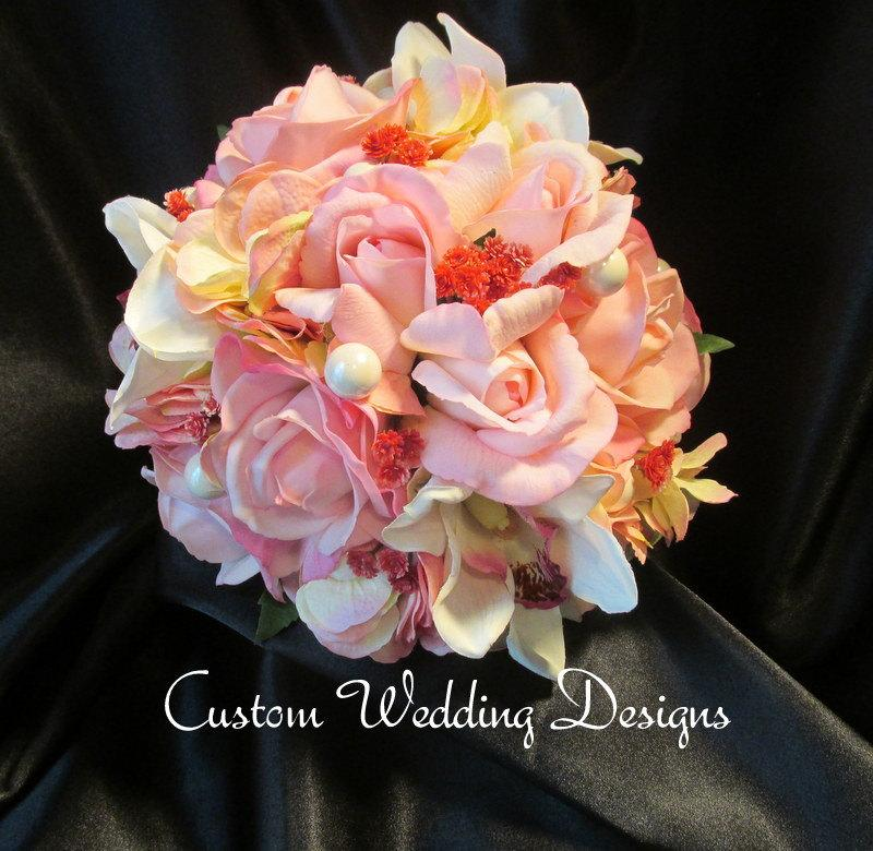 Wedding - In stock and ready to ship. Soft and lovely Real Touch Bouquet is made of roses and Orchids.