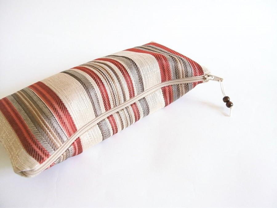 Свадьба - Wedding Clutch red stripes, Gift for Mother of the Bride, Birthday Gift for Her, Bridesmaid Bag