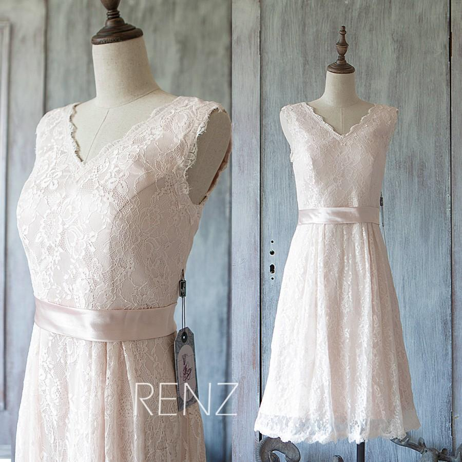 2015 Light Wheat Bridesmaid Dress, Short Pink Lace Wedding Dress ...