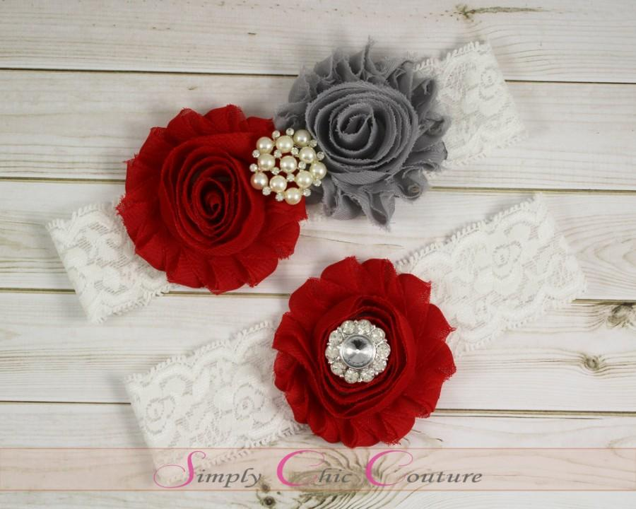 Wedding - Red & Gray Garter, Red Garter, White Lace Garter, Gray Garter, Bridal Wedding Garter Set, Toss Garter, Keepsake Garter, Garter Set W28-21