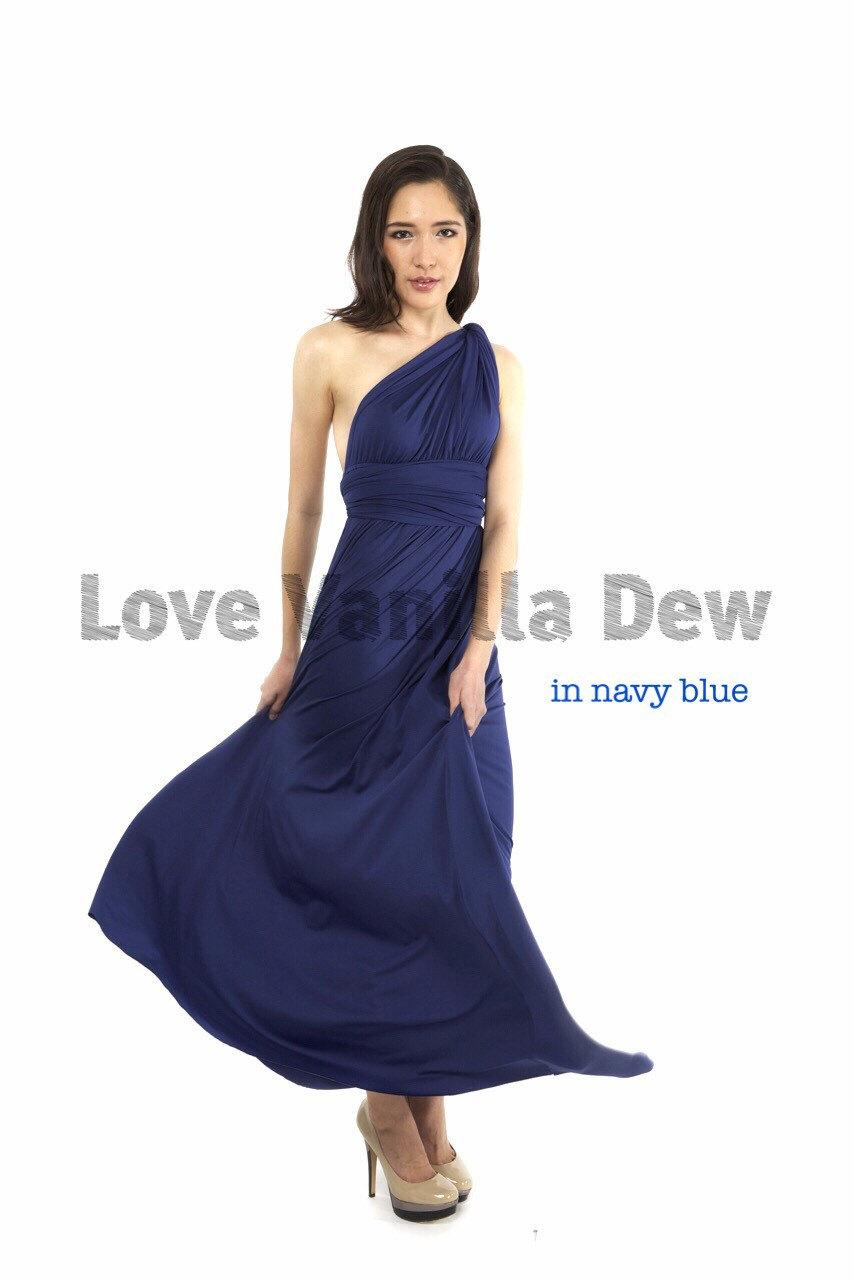 Bridesmaid dress infinity dress navy blue floor length for Navy blue maxi dress for wedding