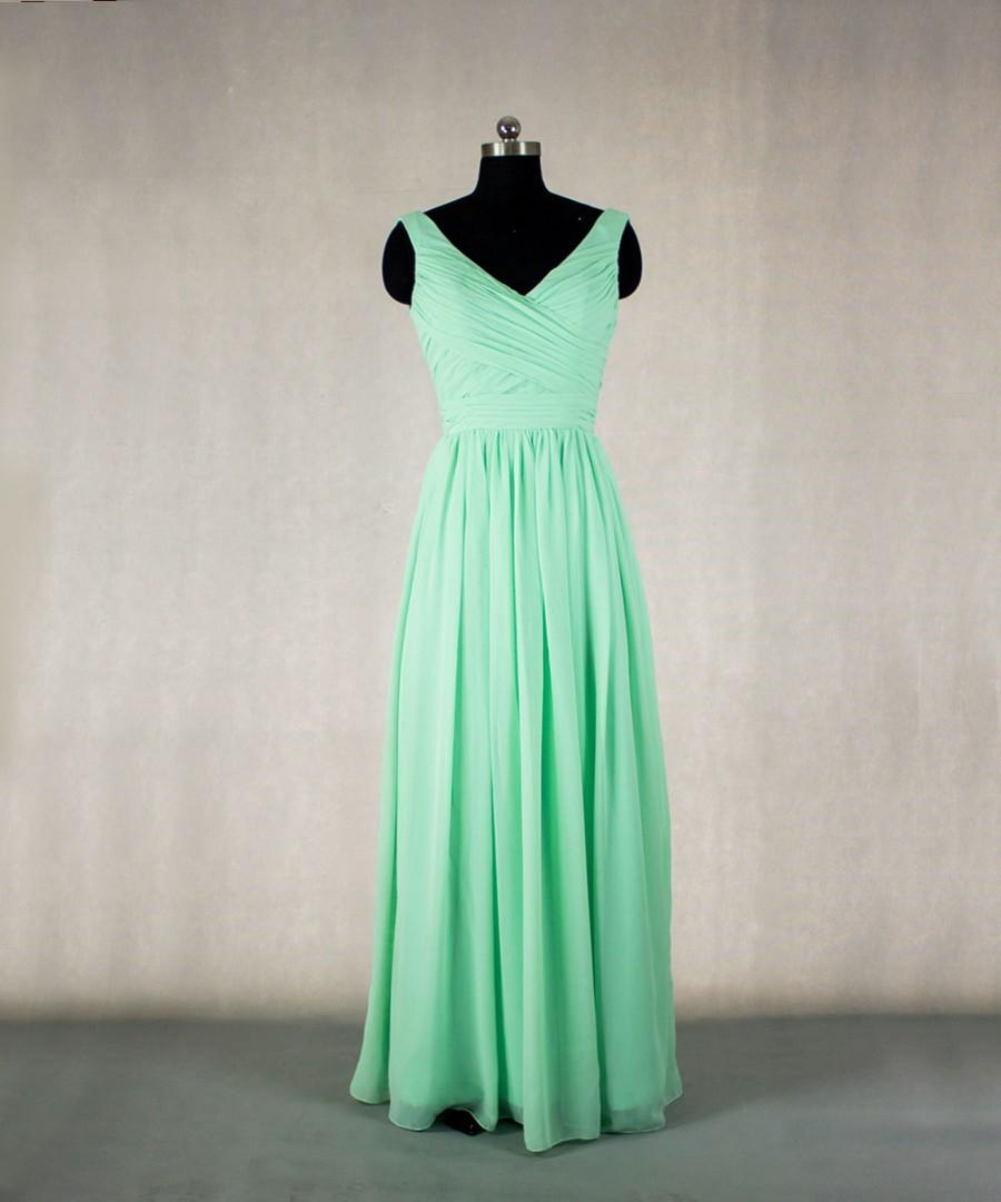Düğün - MInt Bridesmaid Dress Long Bridesmaid Dress V-Neck Convertible Chiffon Dress, Mint Long Prom Dress