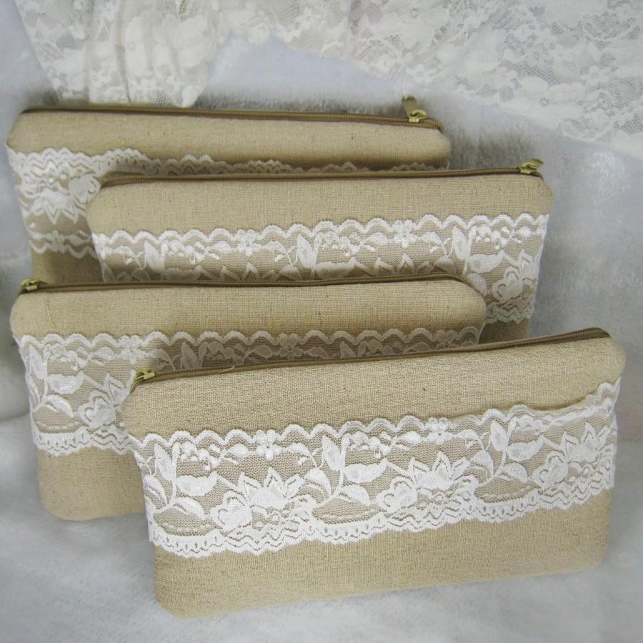 Mariage - Set of 5 - bridesmaids clutches, cotton linen lace clutches, wedding purse bags (Ref: CL889) CHOOSE Your Color Flower
