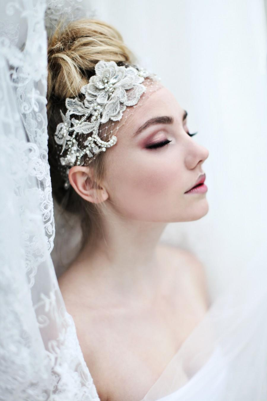 My Fabulous Fiona bridal headband - Romantic birdcage veil with pearls and  rhinestones 3d3262b4a86