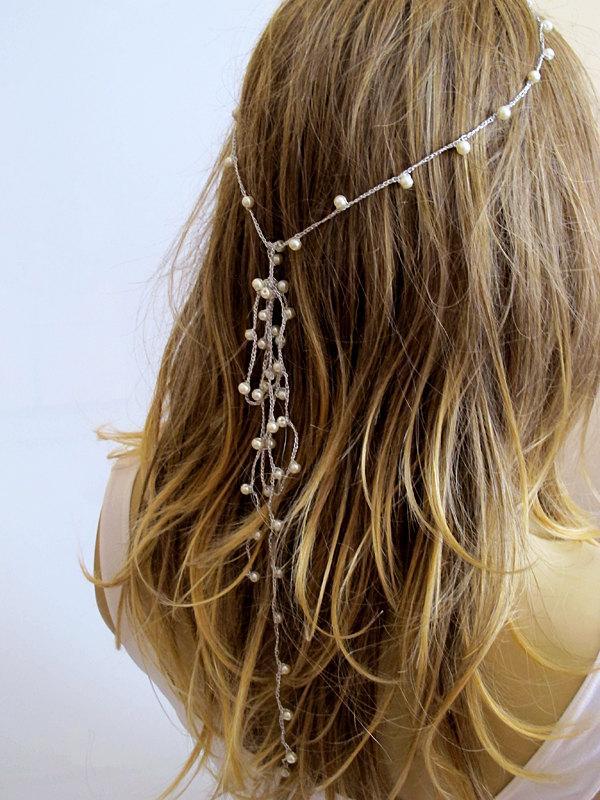 Свадьба - crochet Headpiece, pearl Headband, Wedding hairband, Hair Piece, Bridal Accessories, Boho Headband, Women, Bridesmaids, girls headband,