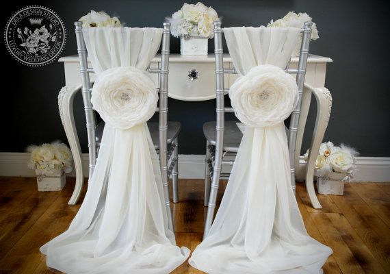 2 wedding large chiffon fabric flower wedding chair for Table and chair decorations for weddings