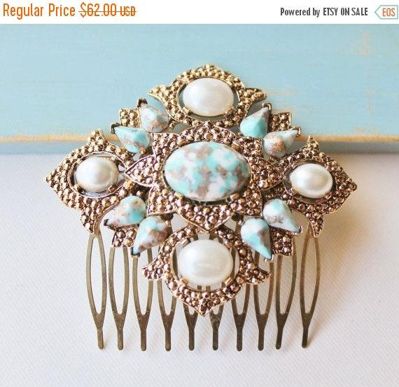 Свадьба - SALE 1920s Vintage Aqua & Ivory Pearl Bridal Hair Comb,Antique Gold,Signed Designer Heirloom Brooch,Large,Something Old or Blue,Repurposed