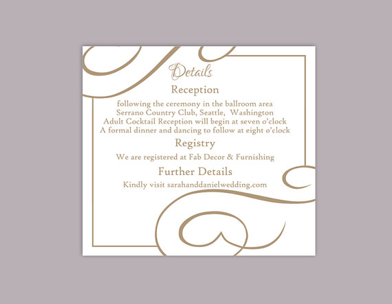 Mariage - DIY Wedding Details Card Template Editable Text Word File Download Printable Details Card Brown Coffee Details Card Enclosure Cards